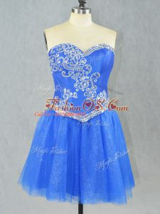 Modern Sleeveless Tulle Mini Length Lace Up Celebrity Style Dress in Blue with Beading