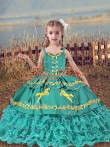 Unique Teal Glitz Pageant Dress Wedding Party with Beading and Embroidery and Ruffled Layers Straps Sleeveless Lace Up