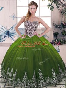 Popular Olive Green Tulle Lace Up Sweet 16 Dresses Sleeveless Floor Length Beading and Embroidery