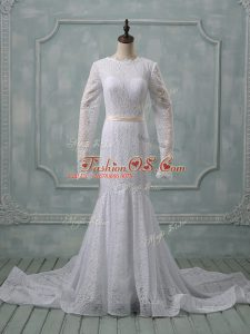 Fancy Long Sleeves Court Train Backless Lace and Belt Wedding Gown