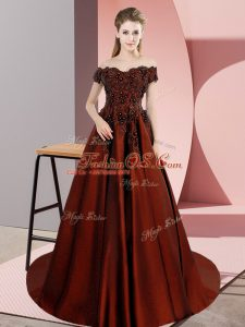 Sleeveless Satin Court Train Zipper Vestidos de Quinceanera in Rust Red with Appliques