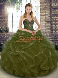 Tulle Sweetheart Sleeveless Lace Up Beading and Ruffles Quince Ball Gowns in Olive Green