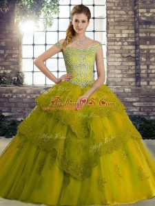 Olive Green Ball Gowns Off The Shoulder Sleeveless Tulle Brush Train Lace Up Beading and Lace Quince Ball Gowns