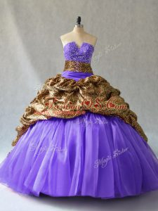 Enchanting Lace Up Quinceanera Gowns Lavender for Sweet 16 and Quinceanera with Beading and Pick Ups Brush Train