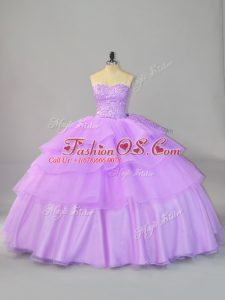 Sweetheart Sleeveless Lace Up Vestidos de Quinceanera Lavender Organza
