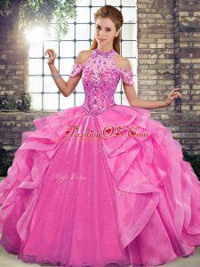 Halter Top Sleeveless Quinceanera Dress Floor Length Beading and Ruffles Rose Pink Organza