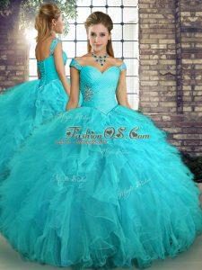 Chic Aqua Blue Off The Shoulder Lace Up Beading and Ruffles Vestidos de Quinceanera Sleeveless