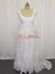 Cap Sleeves Sweep Train Lace Up Beading and Lace Wedding Dress
