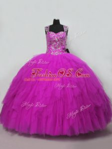 Fuchsia Tulle Lace Up Straps Sleeveless Floor Length 15 Quinceanera Dress Beading and Ruffles