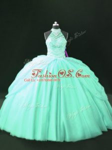 Cheap Apple Green Tulle Lace Up Halter Top Sleeveless Floor Length 15th Birthday Dress Beading