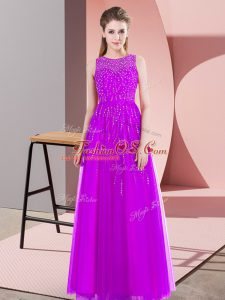 Sweet Floor Length Side Zipper Mother Of The Bride Dress Purple for Prom and Party with Beading