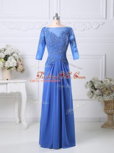 Sweet Half Sleeves Chiffon Floor Length Zipper Mother Of The Bride Dress in Blue with Lace