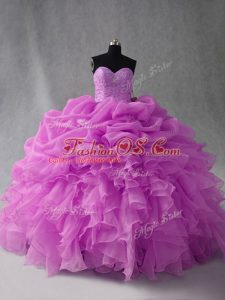 Flare Lilac Ball Gowns Sweetheart Sleeveless Organza Floor Length Lace Up Beading and Ruffles and Pick Ups Quinceanera Dress