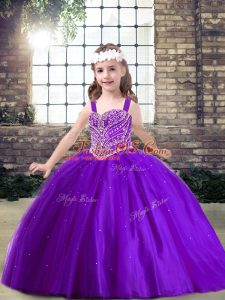 Tulle Sleeveless Floor Length Kids Formal Wear and Beading
