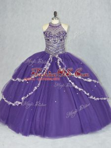 Discount Purple Halter Top Neckline Beading Quinceanera Dresses Sleeveless Lace Up