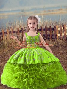Yellow Green Ball Gowns Embroidery Kids Formal Wear Lace Up Fabric With Rolling Flowers Sleeveless