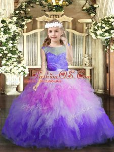 Multi-color Kids Formal Wear Party and Wedding Party with Lace and Ruffles V-neck Sleeveless Backless