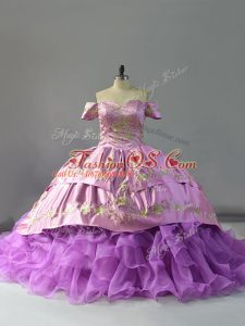 Fantastic Chapel Train Ball Gowns Sweet 16 Quinceanera Dress Lavender Off The Shoulder Organza Sleeveless Lace Up