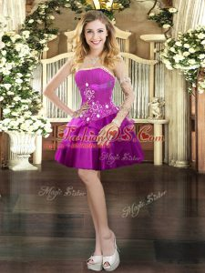 Fuchsia Lace Up Strapless Beading and Ruffled Layers Evening Dress Tulle Sleeveless