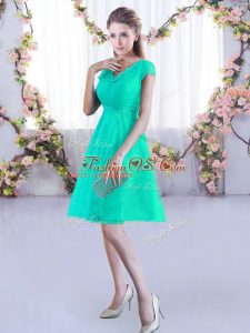 Turquoise A-line V-neck Cap Sleeves Lace Mini Length Lace Up Ruching Wedding Party Dress