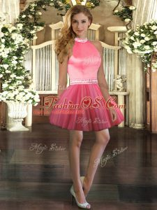 Sumptuous Ball Gowns Homecoming Dress Coral Red Halter Top Tulle Sleeveless Mini Length Backless