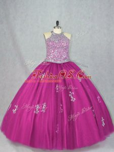Suitable Fuchsia Tulle Lace Up Sweet 16 Dresses Sleeveless Floor Length Beading and Appliques