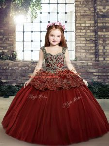 Floor Length Lace Up Little Girl Pageant Dress Red for Party and Sweet 16 and Wedding Party with Beading