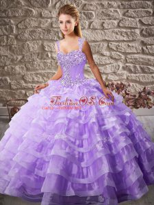 Stylish Organza Sleeveless Sweet 16 Quinceanera Dress Court Train and Beading and Ruffled Layers