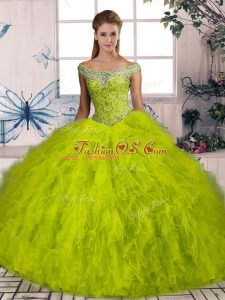 Affordable Sleeveless Brush Train Beading and Ruffles Lace Up Vestidos de Quinceanera