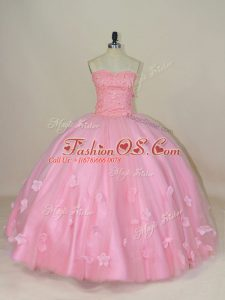 Deluxe Sleeveless Lace Up Floor Length Beading and Hand Made Flower Quinceanera Dress