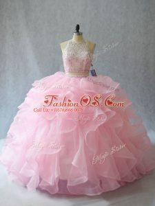 Halter Top Sleeveless Brush Train Backless 15 Quinceanera Dress Baby Pink Organza