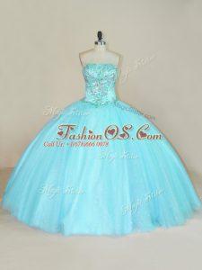 Custom Made Aqua Blue Sleeveless Floor Length Beading Lace Up Quinceanera Dresses
