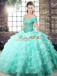 Smart Sleeveless Brush Train Beading and Ruffled Layers Lace Up 15 Quinceanera Dress