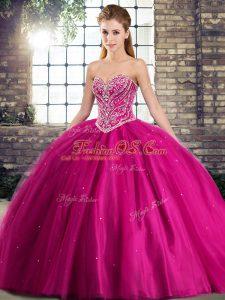 Fuchsia Tulle Lace Up 15th Birthday Dress Sleeveless Brush Train Beading