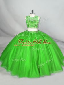 Beautiful Green Scoop Neckline Beading and Appliques Sweet 16 Quinceanera Dress Sleeveless Lace Up