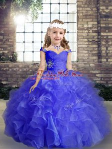 Blue Sleeveless Organza Lace Up Evening Gowns for Party and Wedding Party