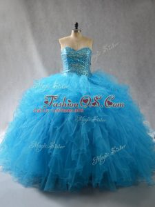 Traditional Baby Blue Sweetheart Neckline Beading and Ruffles Quinceanera Dresses Sleeveless Lace Up