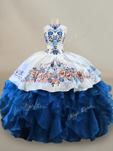 Suitable Blue And White Sleeveless Organza Lace Up Quinceanera Gowns for Sweet 16 and Quinceanera