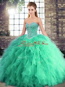 Elegant Turquoise Sleeveless Beading and Ruffles Floor Length 15 Quinceanera Dress