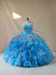 Baby Blue Sleeveless Organza Lace Up Quinceanera Gown for Sweet 16 and Quinceanera