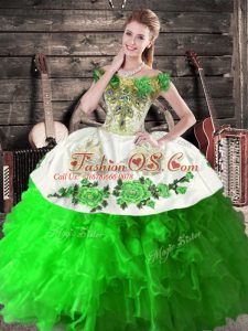 Admirable Green Ball Gowns Organza Off The Shoulder Sleeveless Embroidery and Ruffles Floor Length Lace Up Quinceanera Dresses