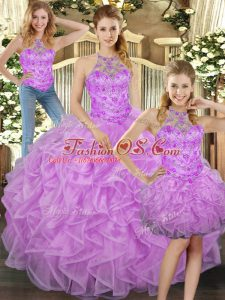 Spectacular Lilac Tulle Lace Up Sweet 16 Dresses Sleeveless Floor Length Beading and Ruffles