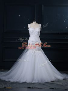 Spectacular Lace Wedding Gowns White Side Zipper Sleeveless Brush Train