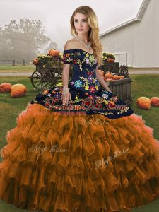 Rust Red Sweet 16 Dresses Military Ball and Sweet 16 and Quinceanera with Embroidery and Ruffled Layers Off The Shoulder Sleeveless Lace Up
