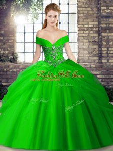 Most Popular Lace Up Quince Ball Gowns Green for Military Ball and Sweet 16 and Quinceanera with Beading and Pick Ups Brush Train