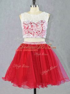 Top Selling Scoop Sleeveless Zipper Celebrity Prom Dress Red Organza
