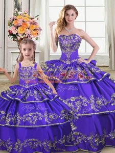 Extravagant Ball Gowns Ball Gown Prom Dress Purple Strapless Satin and Organza Sleeveless Floor Length Lace Up
