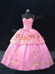 Smart Rose Pink Sweetheart Neckline Embroidery Sweet 16 Dresses Sleeveless Lace Up