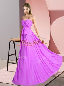 Eye-catching Lilac Sleeveless Floor Length Ruching Lace Up