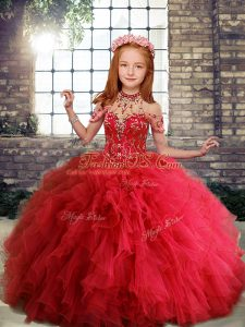 Popular Sleeveless Ruffles Lace Up Little Girl Pageant Gowns